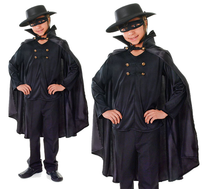 Childrens Kids Black Bandit Zorro Lone Ranger Fancy Dress
