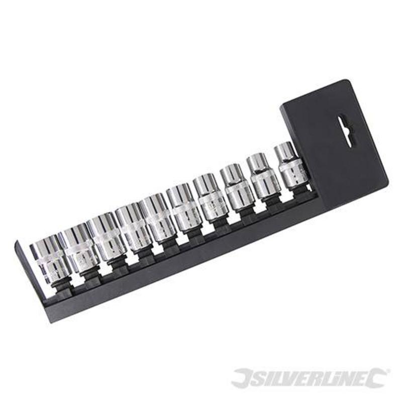 """Silverline 10 Piece Socket Set 1/2"""" 10-19Mm"""