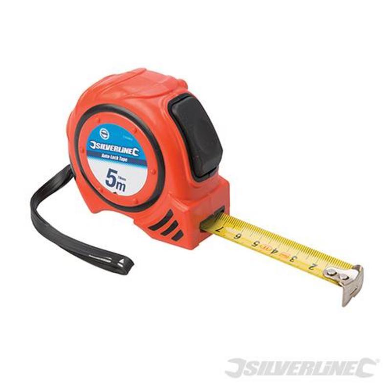 Silverline Auto-Lock Measuring Tape 5M X 19Mm