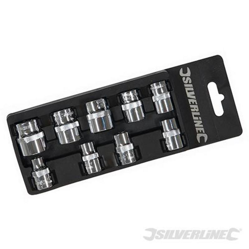 """Silverline 9 Piece Socket Set 3/8"""" 8-19Mm"""