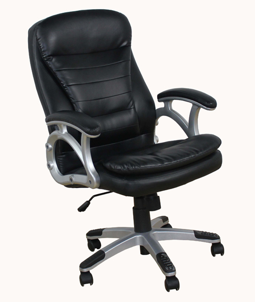 padded black leather executive swivel office desk chair model mars