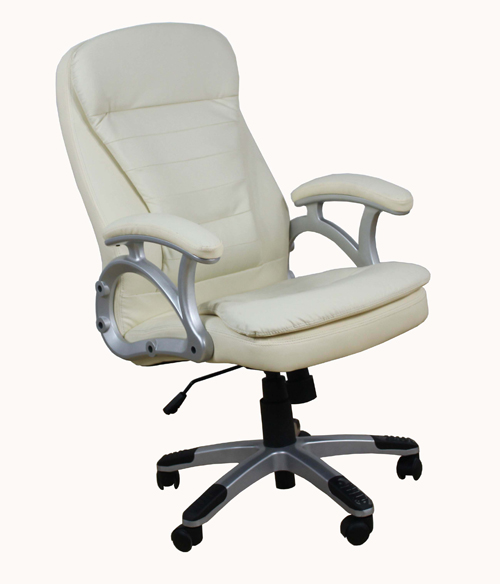 padded cream leather executive swivel office desk chair model mars