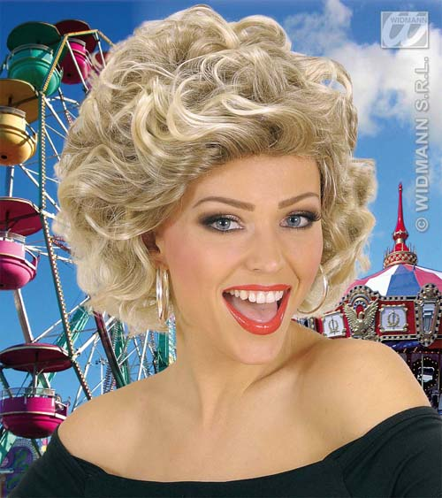 Blonde Curly Olivia Newton John Wig Sandy Grease Fancy Dress - S0671_a
