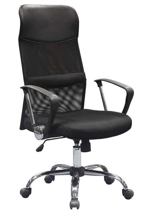black mesh leather swivel office chair high back executive style