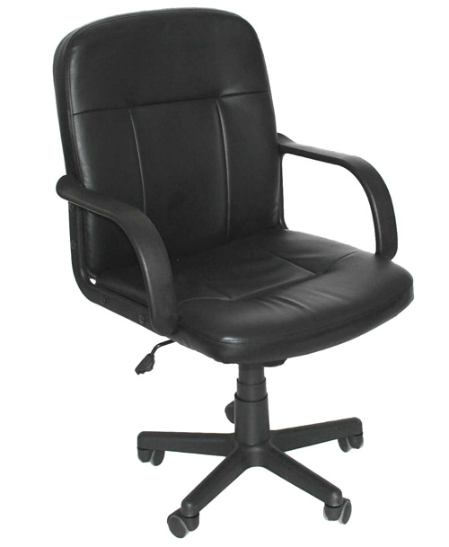 Padded Black Faux Leather Office Desk Chair Modern Swivel Style
