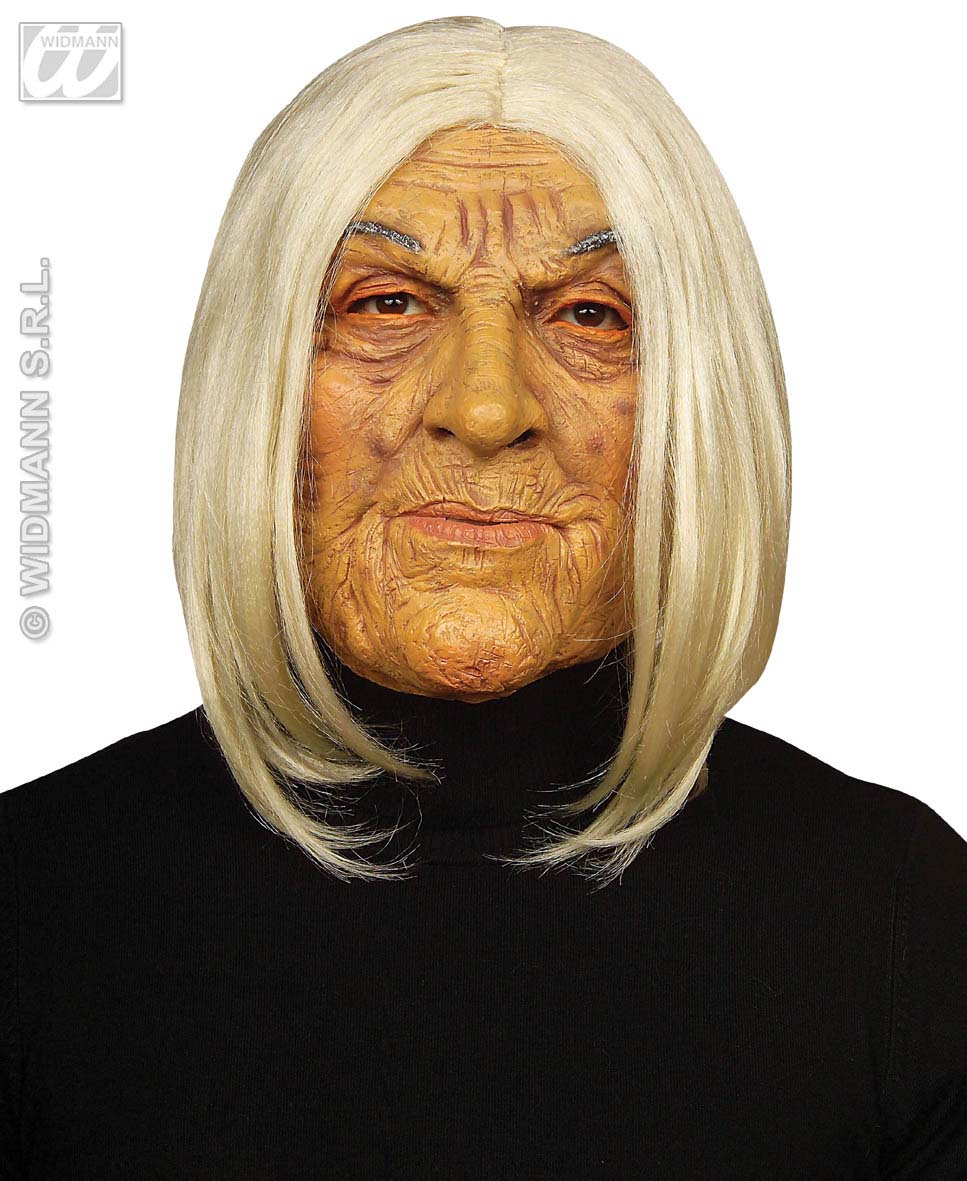 Scary Old Man Mask With White Hair Tribal Leader Halloween Fancy ...
