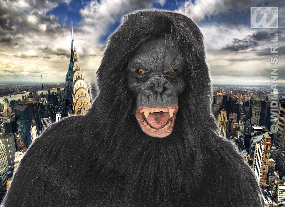 Black Hairy King Kong Mask Gorilla Monkey Ape Halloween Fancy ...