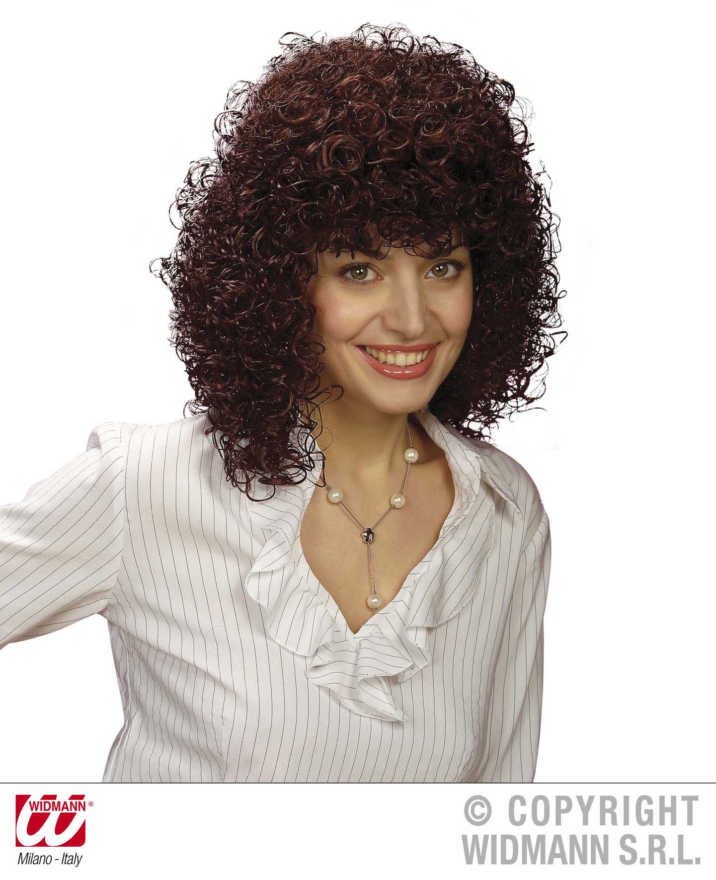 Ladies Brown Curly Perm Wig Poodle Hair 70'S Fancy Dress