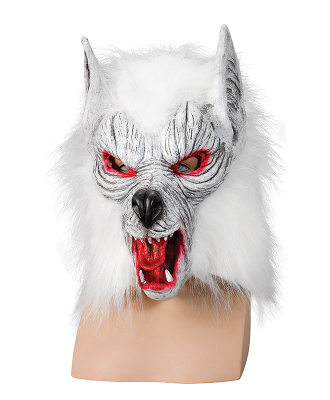 White Wolf Mask Scary Zombie Wolf Psycho Werewolf Man Halloween Fancy ...