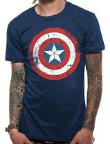 Civil War Distressed Captain America Shield Mens T-Shirt Licensed Top Blue L