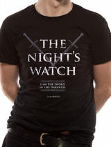 Game Of Thrones Nights Watch Mens T-Shirt Licensed Top Black S