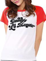 Suicide Squad Daddys Little Monster Short Sleeved Raglan T-Shirt Licensed Top L