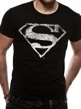 Superman Logo Symbol Mono Distressed T-Shirt Licensed Top Black L