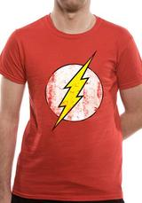 The Flash Distressed Logo Symbol T-Shirt Licensed Top Red L