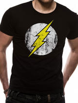 The Flash Distressed Logo Symbol T-Shirt Licensed Top Black L