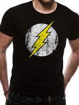 The Flash Distressed Logo Symbol T-Shirt Licensed Top Black M