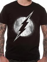 The Flash Logo Symbol Mono Distressed T-Shirt Licensed Top Black S