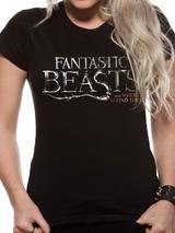 Fantastic Beasts Logo Symbol T-Shirt Womens Ladies Top Black S UK 8-10