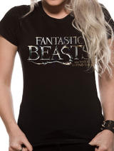 Fantastic Beasts Logo Symbol T-Shirt Womens Ladies Top Black 2XL UK 18-20