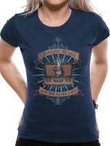 Fantastic Beasts Magic Wand T-Shirt - Womens Ladies Top Blue L UK 12-14