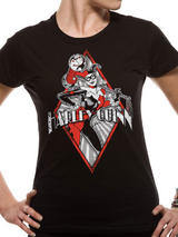 Harley Quinn Diamond T-Shirt  Womens Ladies Top Black L UK 12-14