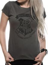 Harry Potter Distressed Hogwarts T-Shirt Womens Ladies Grey S UK 8-10