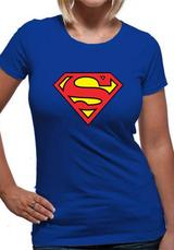 Superman Logo Symbol T-Shirt Womens Ladies Blue 2XL UK 18-20
