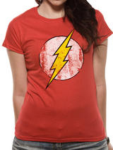 The Flash Logo Symbol T-Shirt Womens Ladies Top Red 2XL UK 18-20