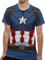Civil War Captain America Suit Costume T-Shirt Premium Licensed Top Blue XL