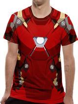 Civil War Iron Man Suit Costume T-Shirt Premium Licensed Top Red 2XL