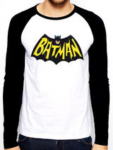 Batman 1966 Logo Symbol Baseball Shirt Long Sleeve T-Shirt Licensed Top White S