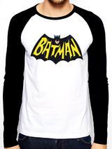 Batman 1966 Logo Symbol Baseball Shirt Long Sleeve T-Shirt Licensed Top White XL