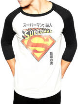 Superman Japanese (Baseball Shirt) Long Sleeve T-Shirt Licensed Top White L