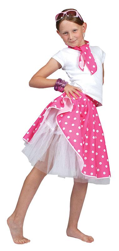 Costume per bambini gonna rosa rock amp roll grease ragazza ballerina taglia unica ebay