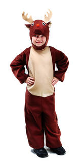 Childrens Reindeer Fancy Dress Costume Xmas Rudolph Christmas Outfit 2-3 Yrs