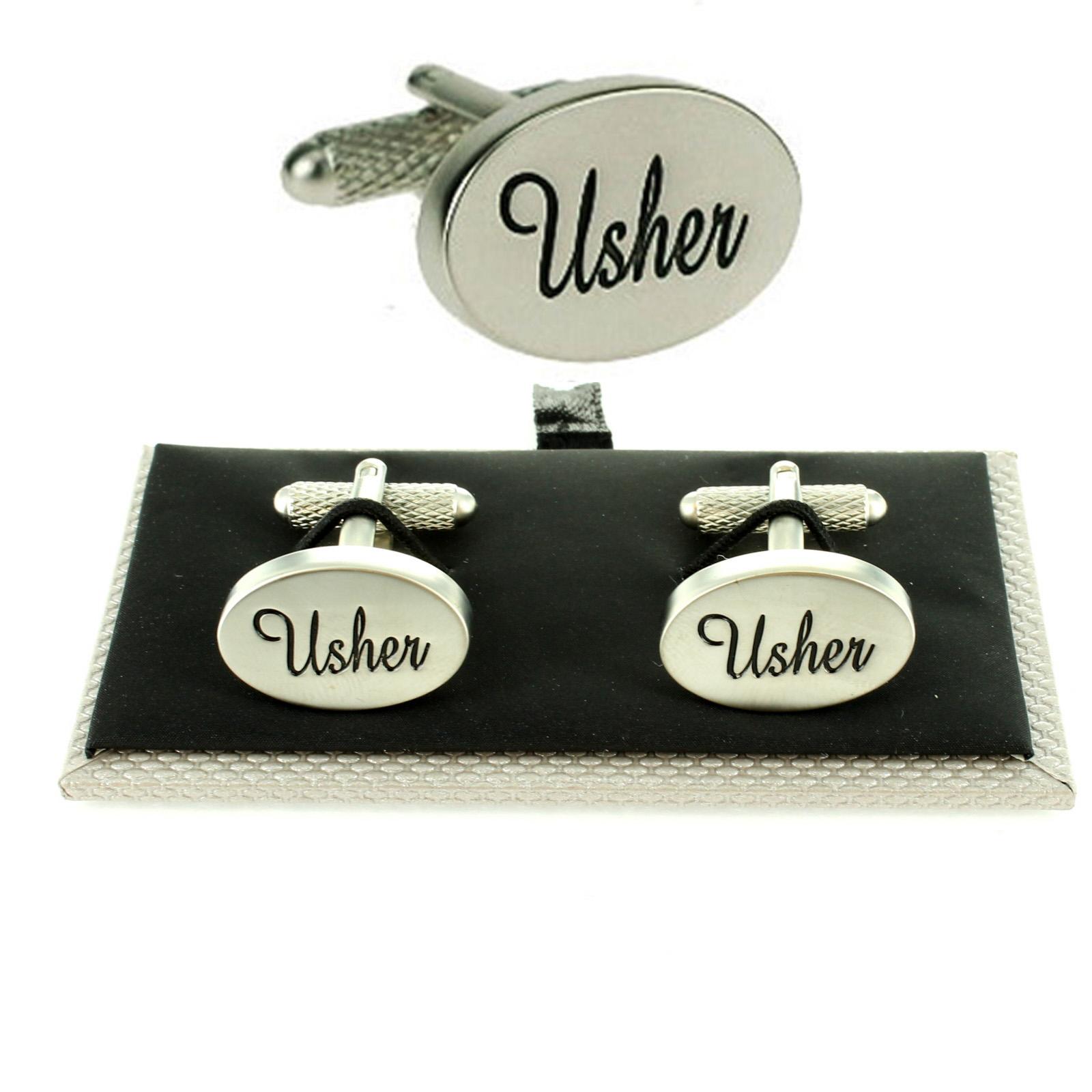 Mens Oval Silver Wedding Cufflinks Gift Box Boxed Usher Groom Best Man Kit Set
