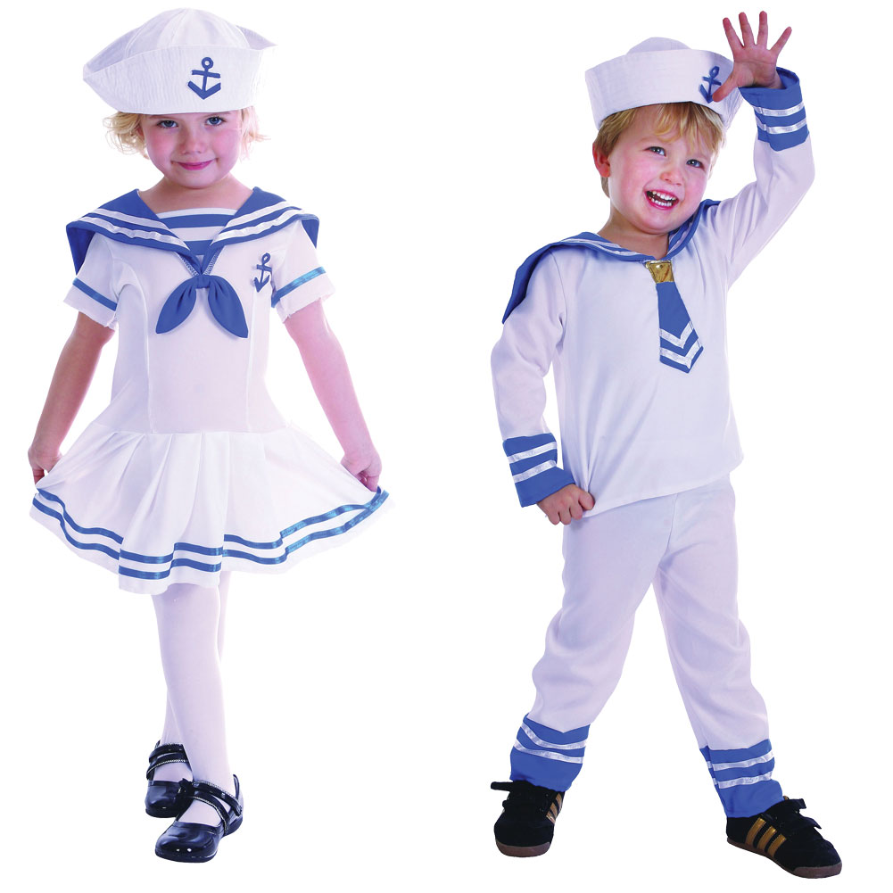 Childrens Toddler Sailor Fancy Dress Costume Nautical Outfit Boy ...