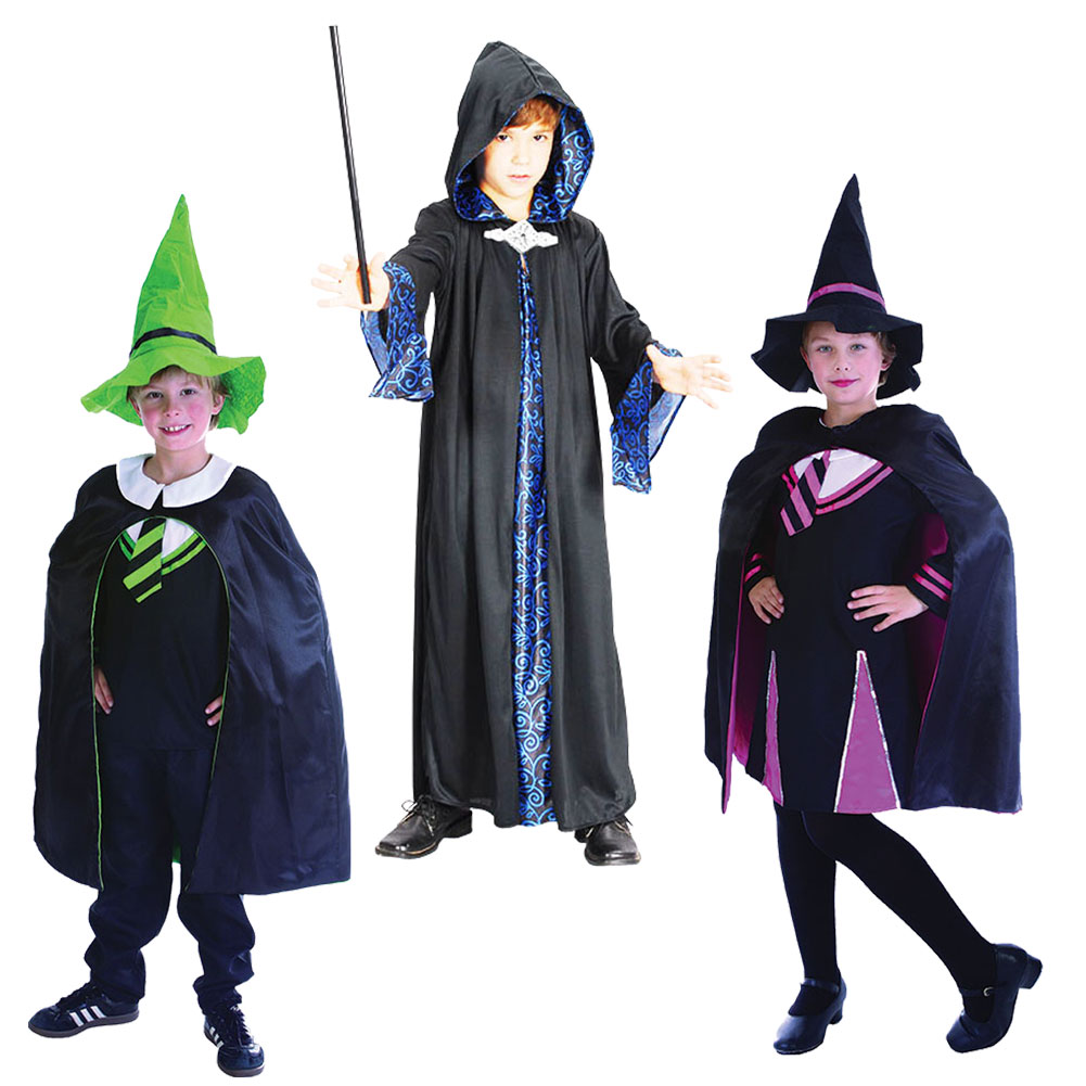 Childrens Boy Girl Wizard Warlock Fancy Dress Costume Outfit Book ...