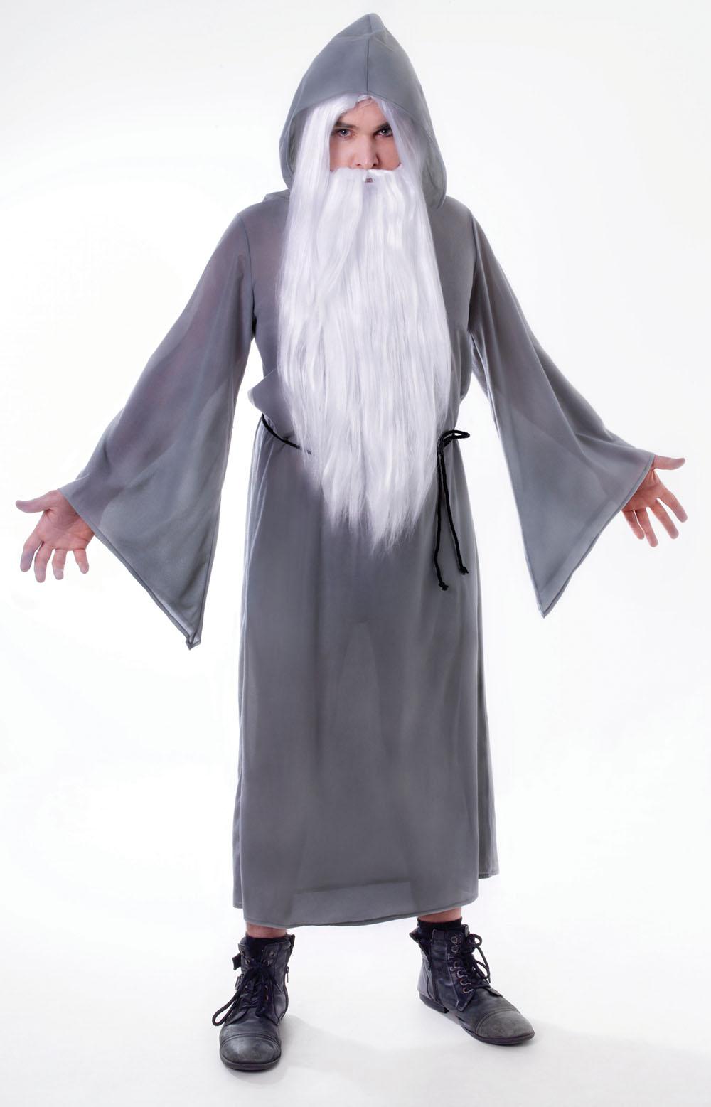 Mens Grey Wizard Cloak Fancy Dress Costume Gandalf Dumbledore ...