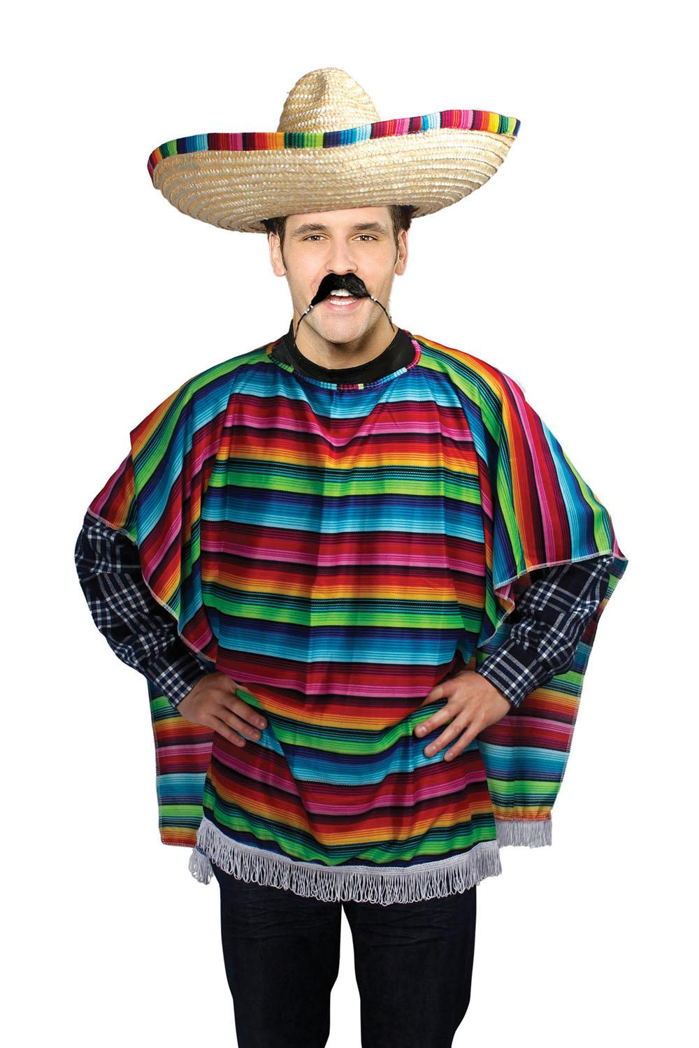 Mens Stripy Mexican Poncho Fancy Dress Costume Mexico ...