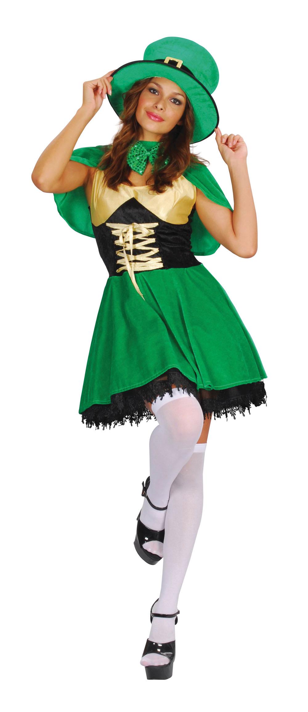 Ladies Green Leprechaun Fancy Dress Costume Irish St