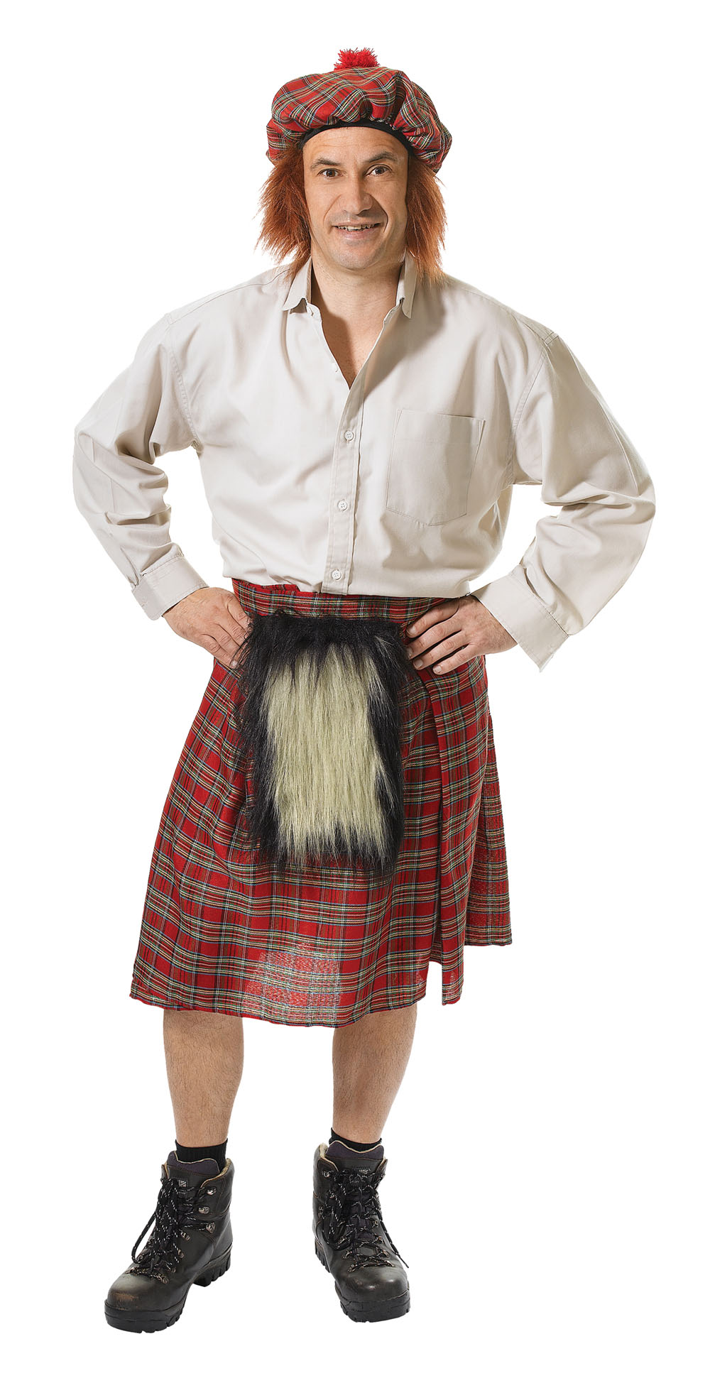 Mens Scottish Red Kilt Fancy Dress Costume Scot Scotl ...