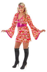 Ladies Flower Power Fancy Dress Costume 70's Hippy Pink Womens Party Outfit New