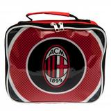 AC Milan Lunch Bag Red, Black & White Zip Up Square Packed Lunchbag Football New