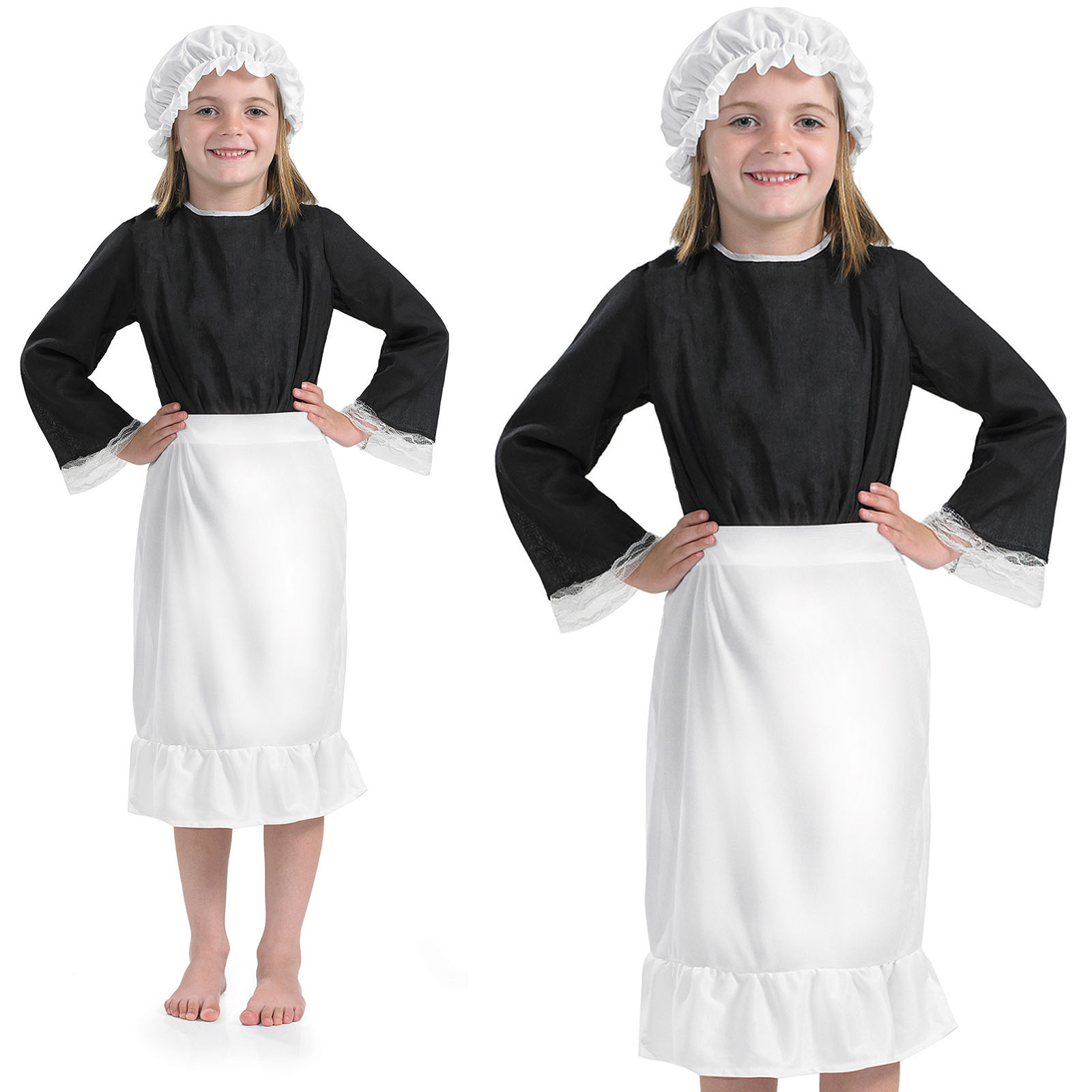 White apron and hat - Sentinel Ladies Victorian Chamber Maid Cook Fancy Dress Kitchen Apron Hat