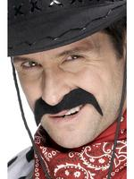 Cowboy Tash / Moustache Black Fancy Dress