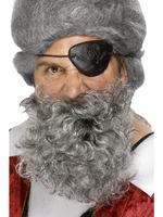 Pirate Beard Deluxe Light Grey Fancy Dress