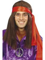 Instant Hippy / Hippie Man Kit with Wig Fancy Dress