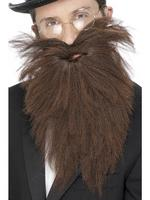 Long Beard &amp; Tash / Moustache Brown Mix Fancy Dress