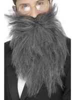 Long Beard &amp; Tash / Moustache Grey Mix Fancy Dress